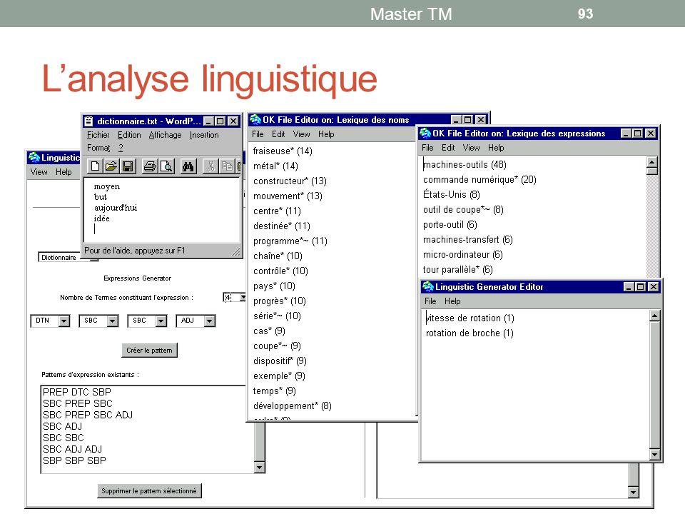 L'analyse linguistique Master TM 93