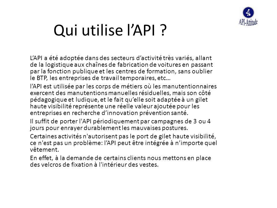 Qui utilise l'API ? L'API a été adoptée dans des secteurs d'activité très variés, allant de la logistique aux chaînes de fabrication de voitures en pa