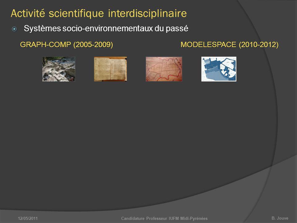 B. Jouve Candidature Professeur IUFM Midi-Pyrénées  Systèmes socio-environnementaux du passé GRAPH-COMP (2005-2009) MODELESPACE (2010-2012) Activité