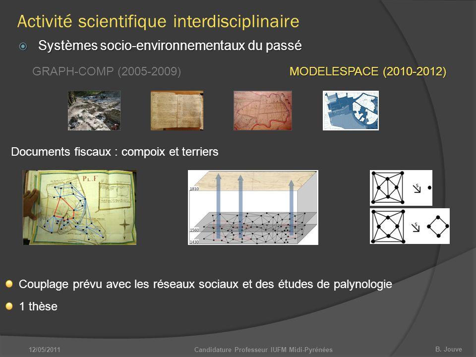 B. Jouve Candidature Professeur IUFM Midi-Pyrénées  Systèmes socio-environnementaux du passé GRAPH-COMP (2005-2009) MODELESPACE (2010-2012) Documents