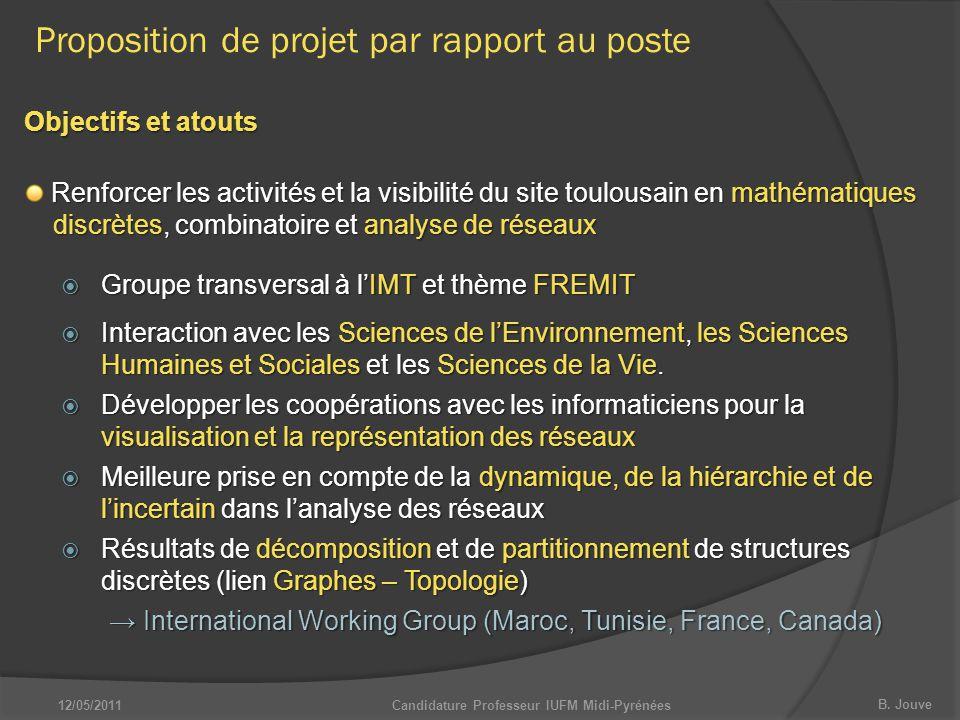 B. Jouve Proposition de projet par rapport au poste Objectifs et atouts Renforcer les activités et la visibilité du site toulousain en mathématiques d