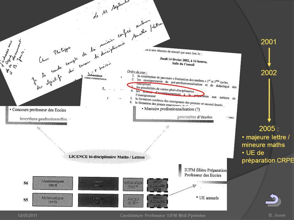 B. Jouve 12/05/2011Candidature Professeur IUFM Midi-Pyrénées 2001 2002 2005 : majeure lettre / mineure maths UE de préparation CRPE