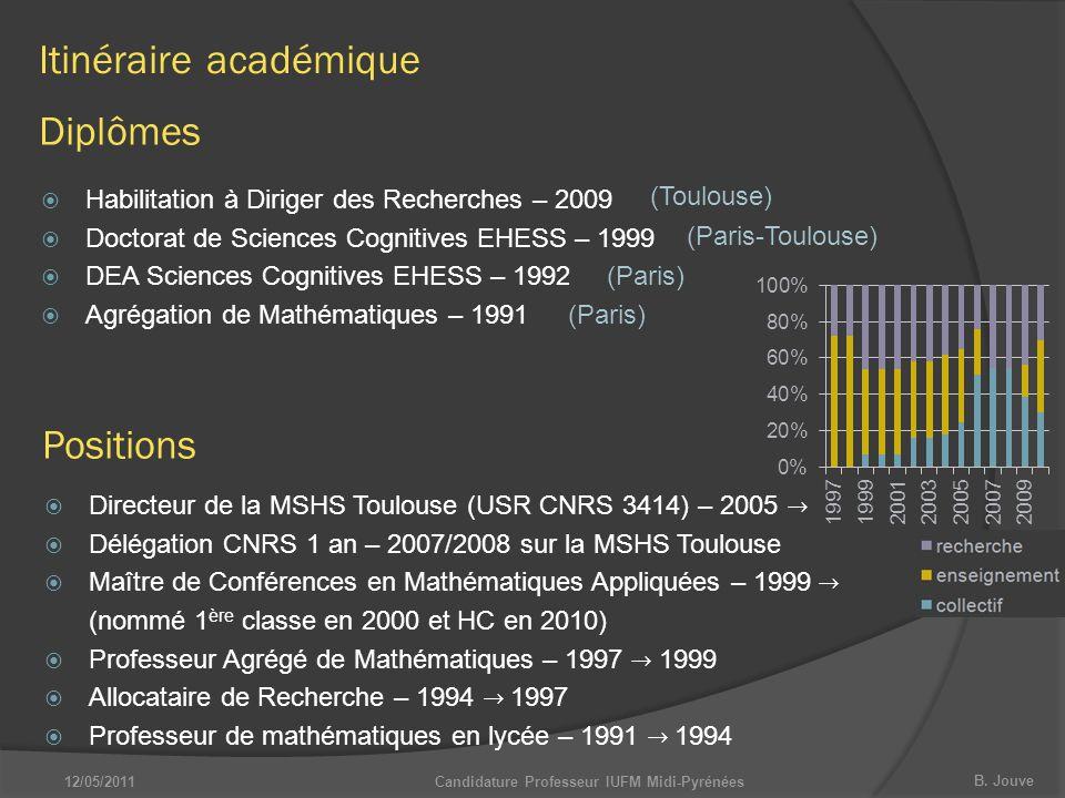B. Jouve 12/05/2011Candidature Professeur IUFM Midi-Pyrénées  Habilitation à Diriger des Recherches – 2009  Doctorat de Sciences Cognitives EHESS –