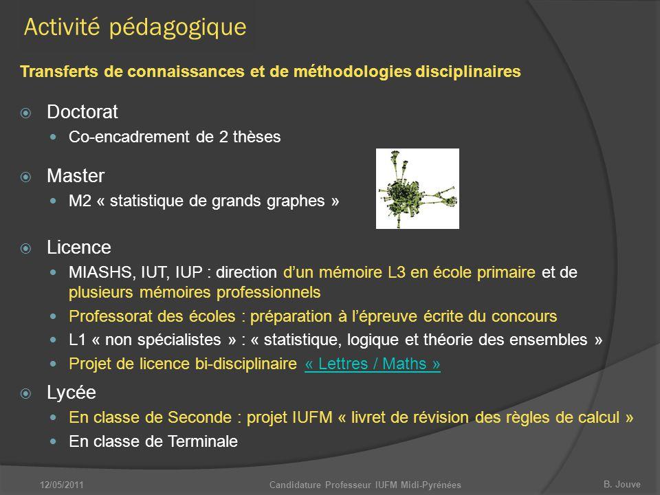 B. Jouve 12/05/2011Candidature Professeur IUFM Midi-Pyrénées Activité pédagogique  Master M2 « statistique de grands graphes »  Lycée En classe de S