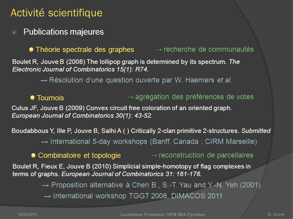 B. Jouve Candidature Professeur IUFM Midi-Pyrénées  Publications  Publications majeures Théorie spectrale des graphes Boulet R, Jouve B (2008) The l