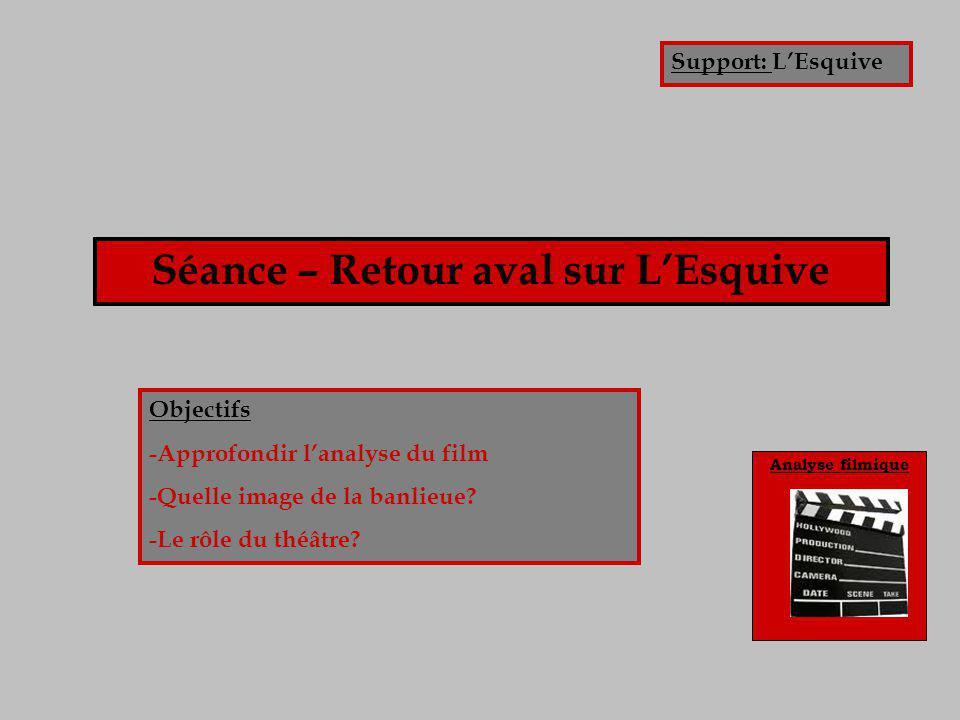 Analyse filmique Séance – Retour aval sur L'Esquive Objectifs -Approfondir l'analyse du film -Quelle image de la banlieue? -Le rôle du théâtre? Suppor