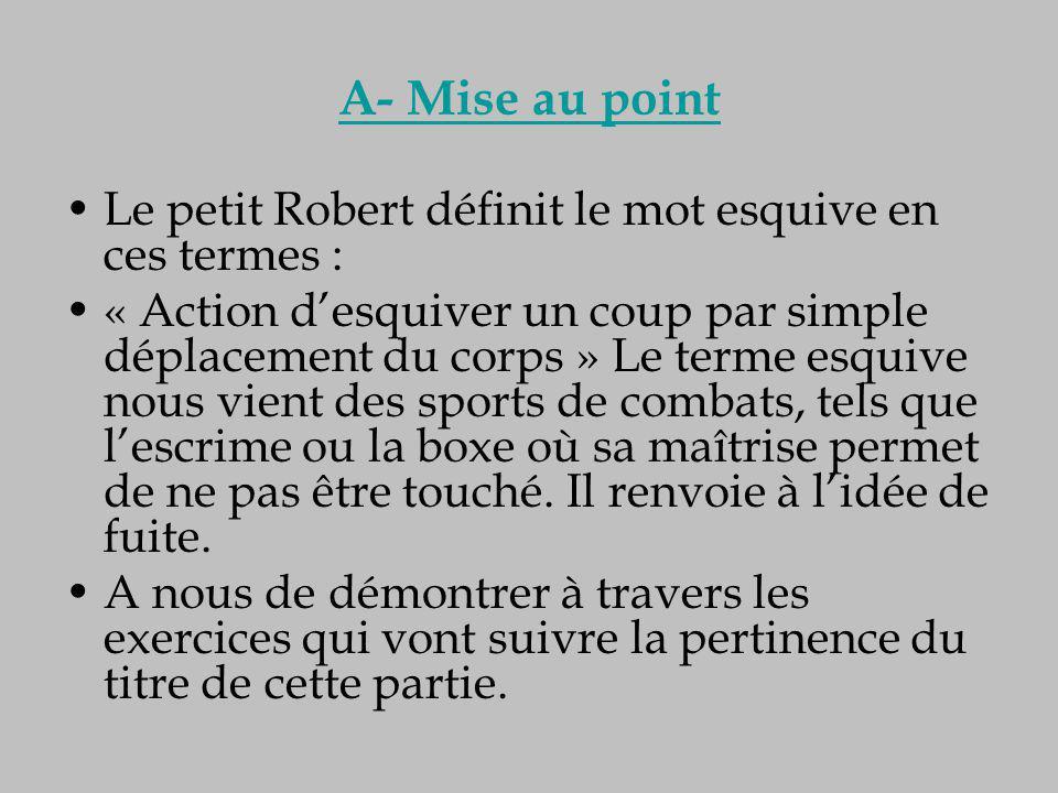 A- Mise au point Le petit Robert définit le mot esquive en ces termes : « Action d'esquiver un coup par simple déplacement du corps » Le terme esquive
