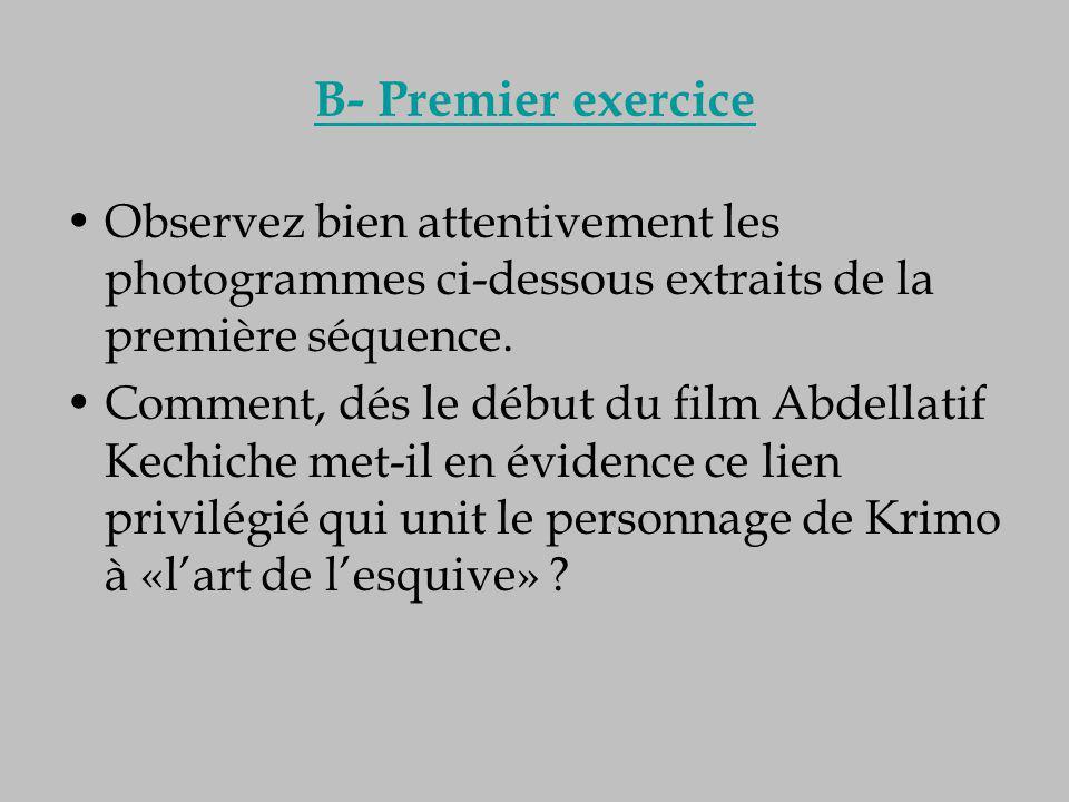 B- Premier exercice Observez bien attentivement les photogrammes ci-dessous extraits de la première séquence. Comment, dés le début du film Abdellatif