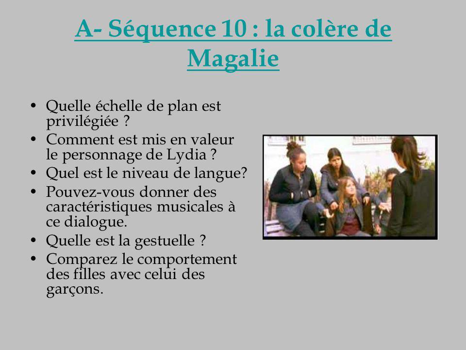 A- Séquence 10 : la colère de Magalie Quelle échelle de plan est privilégiée ? Comment est mis en valeur le personnage de Lydia ? Quel est le niveau d
