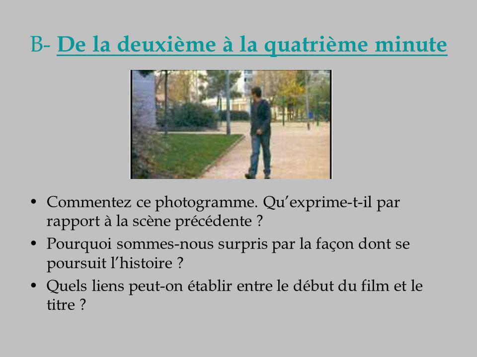 B- De la deuxième à la quatrième minute Commentez ce photogramme. Qu'exprime-t-il par rapport à la scène précédente ? Pourquoi sommes-nous surpris par