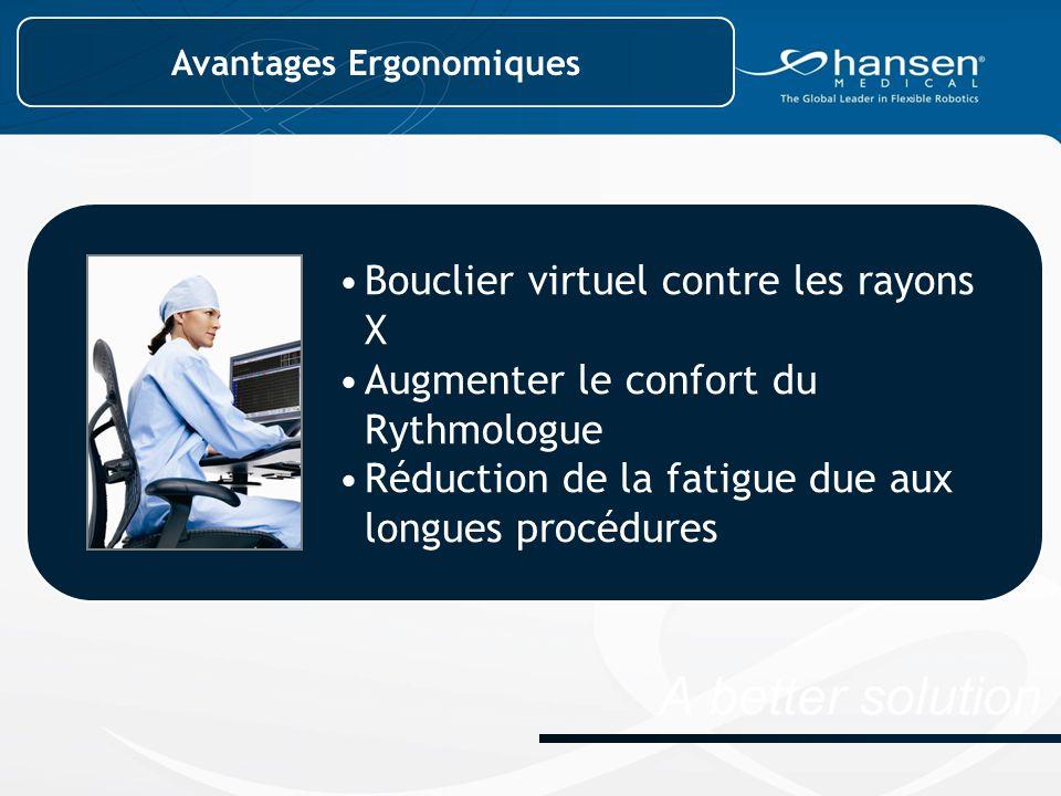 A better solution Bouclier virtuel contre les rayons X Augmenter le confort du Rythmologue Réduction de la fatigue due aux longues procédures Avantages Ergonomiques
