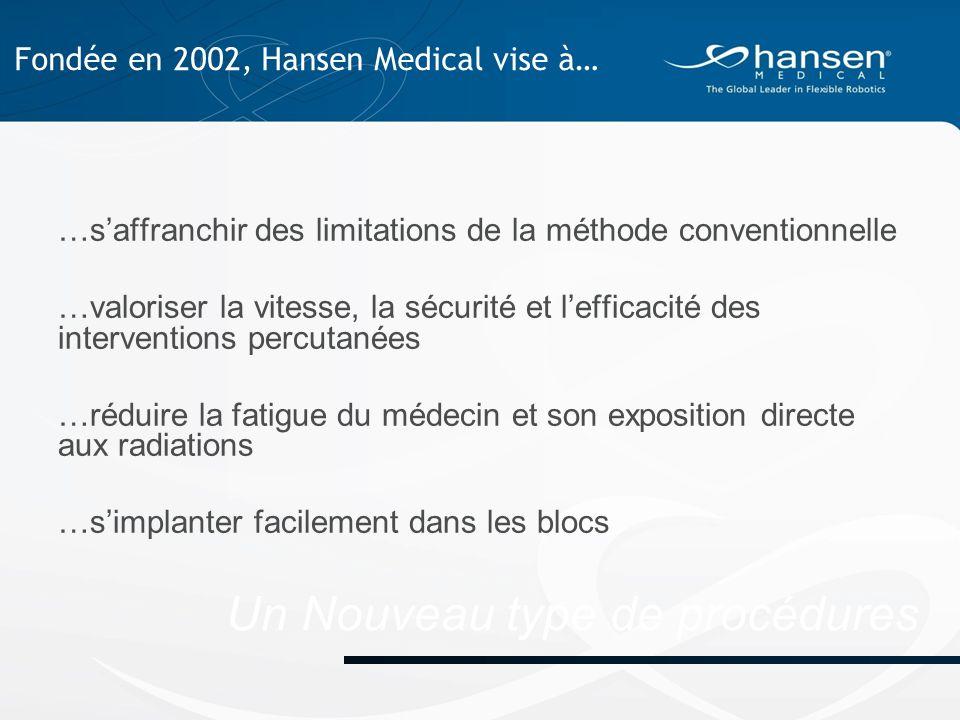 Un Nouveau type de procédures …s'affranchir des limitations de la méthode conventionnelle …valoriser la vitesse, la sécurité et l'efficacité des interventions percutanées …réduire la fatigue du médecin et son exposition directe aux radiations …s'implanter facilement dans les blocs Fondée en 2002, Hansen Medical vise à…