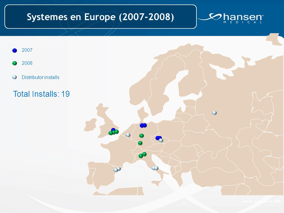 2007 2008 Total Installs: 19 Distributor installs Data as of January 8, 2009 Systemes en Europe (2007-2008)