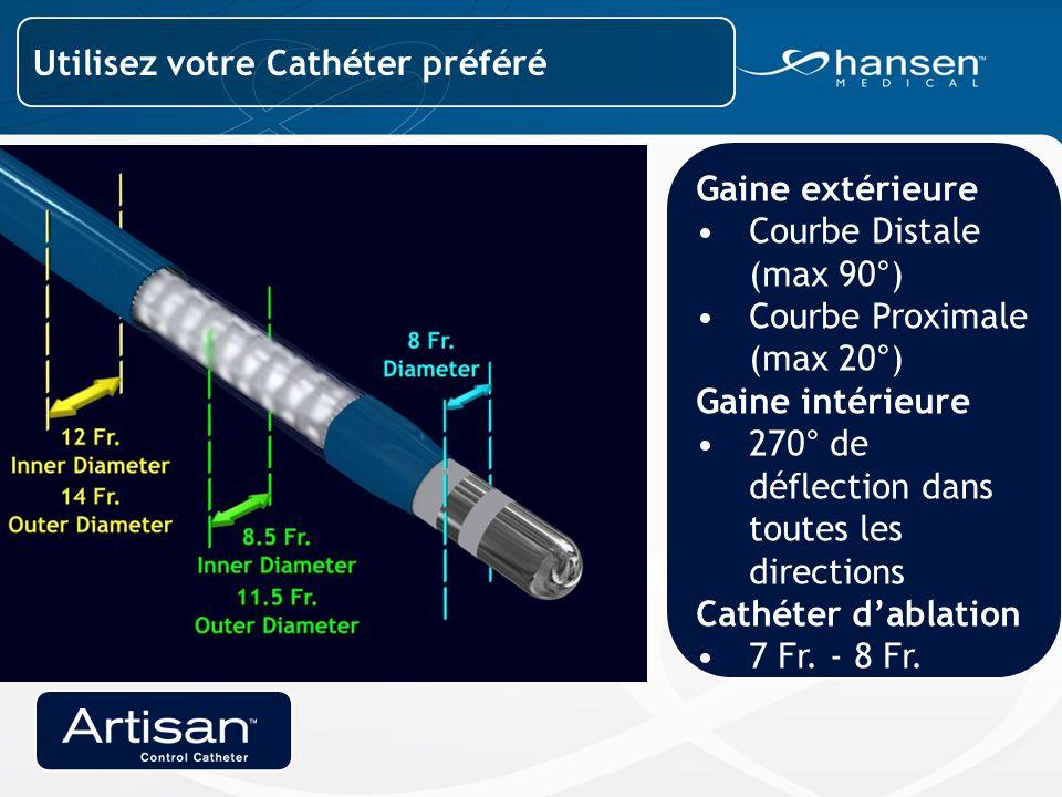 Gaine extérieure Courbe Distale (max 90°) Courbe Proximale (max 20°) Gaine intérieure 270° de déflection dans toutes les directions Cathéter d'ablation 7 Fr.
