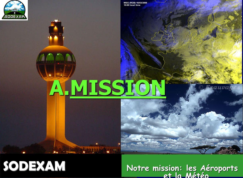 3 SODEXAM Notre mission:les Aéroports et la Météorologie  Société d'Exploitation et de Développement Aéroportuaire, Aéronautique et Météorologique Aé