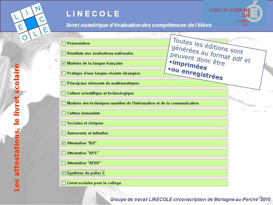 Groupe de travail LINECOLE circonscription de Mortagne-au-Perche 2010 L I N E C O L E livret numérique d'évaluation des compétences de l'élève Les att
