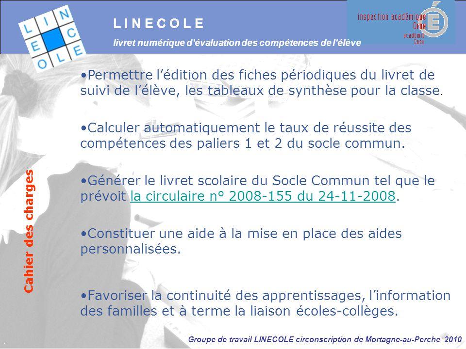 Groupe de travail LINECOLE circonscription de Mortagne-au-Perche 2010 Permettre l'édition des fiches périodiques du livret de suivi de l'élève, les ta