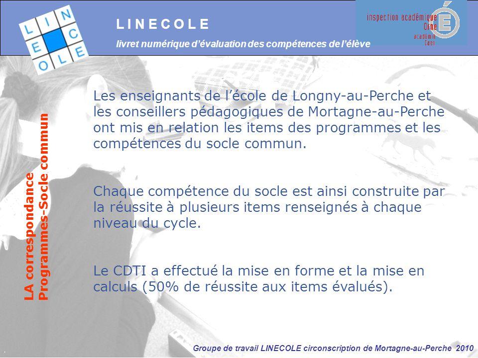 Groupe de travail LINECOLE circonscription de Mortagne-au-Perche 2010 L I N E C O L E livret numérique d'évaluation des compétences de l'élève LA corr