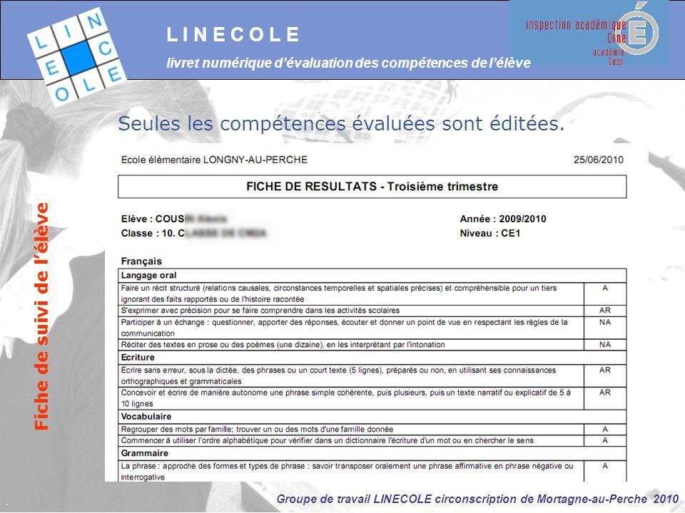 Groupe de travail LINECOLE circonscription de Mortagne-au-Perche 2010 L I N E C O L E livret numérique d'évaluation des compétences de l'élève Fiche d