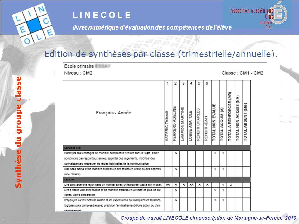 Groupe de travail LINECOLE circonscription de Mortagne-au-Perche 2010 L I N E C O L E livret numérique d'évaluation des compétences de l'élève Synthès