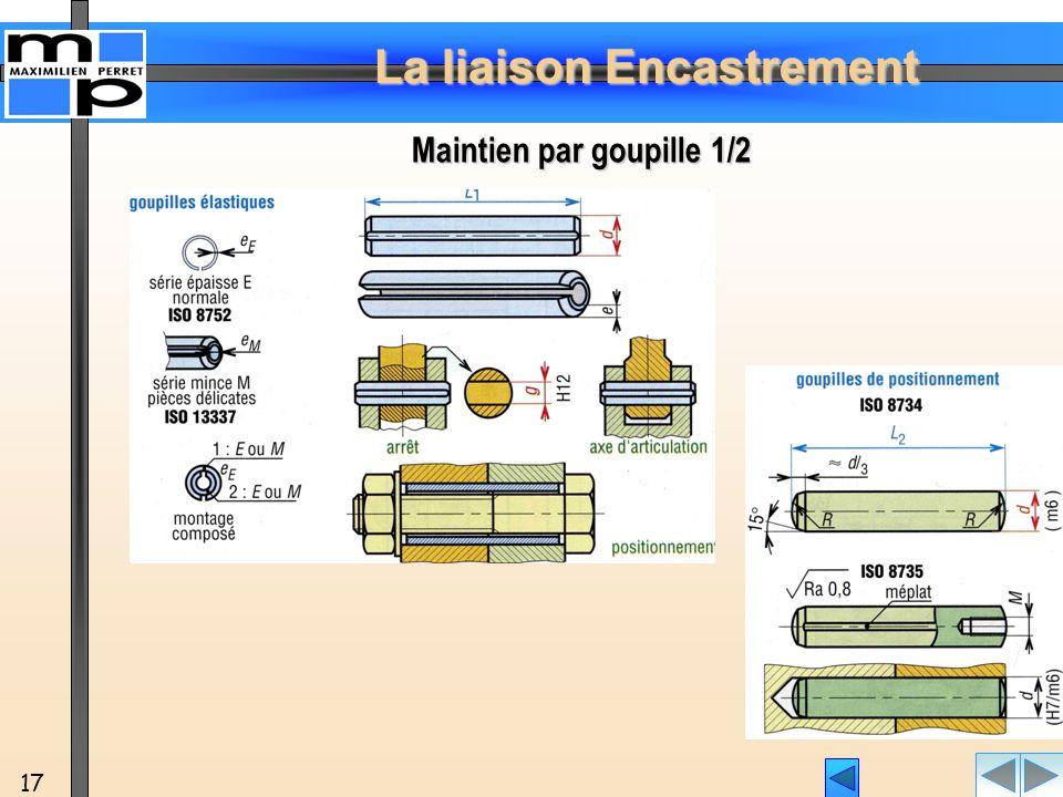La liaison Encastrement 17 Maintien par goupille 1/2