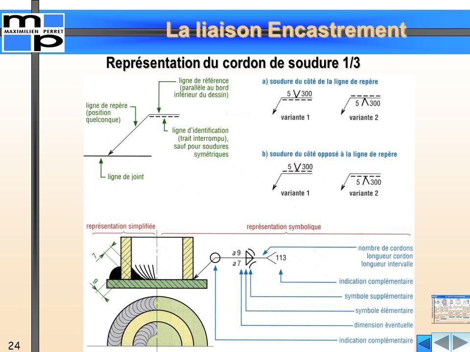 La liaison Encastrement 24 Représentation du cordon de soudure 1/3