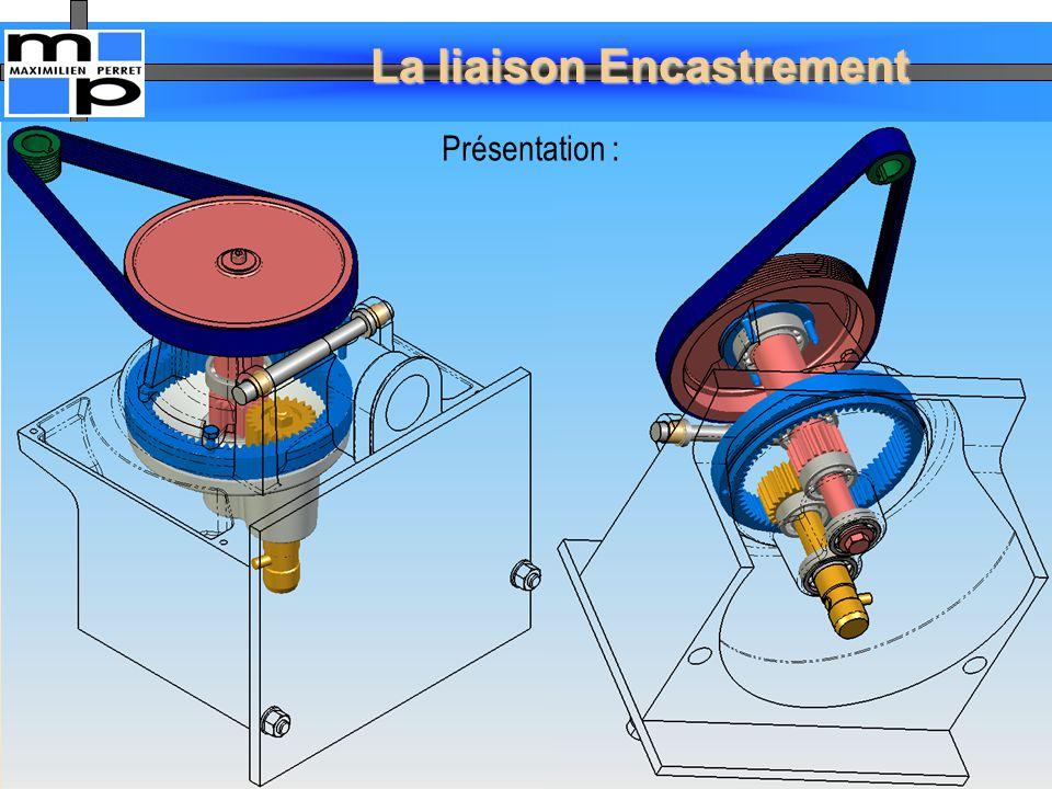 La liaison Encastrement 16 L'association de deux surfaces prismatiques ne laisse subsister qu'un seul degré de liberté en translation.