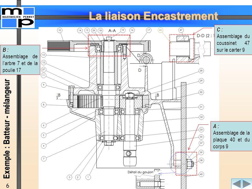 La liaison Encastrement 7 D : Assemblage du pied 43 et de la traverse 50 E : Assemblage de la plaque constructeur 48 et de la traverse 50 Exemple : Batteur - mélangeur