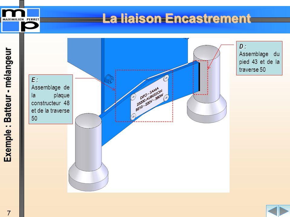 La liaison Encastrement 7 D : Assemblage du pied 43 et de la traverse 50 E : Assemblage de la plaque constructeur 48 et de la traverse 50 Exemple : Ba