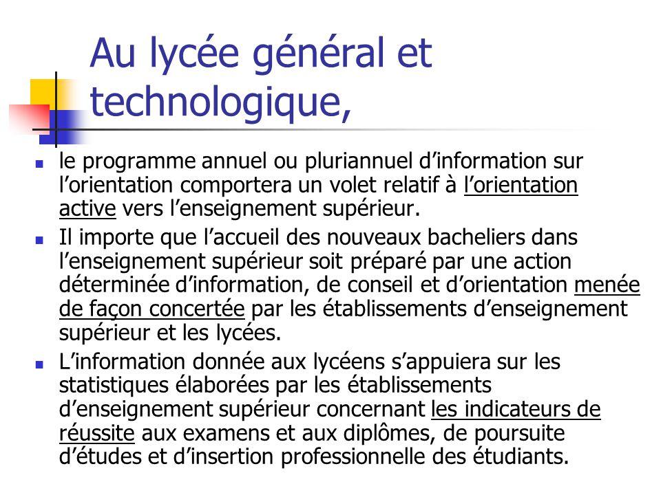 Au lycée général et technologique, le programme annuel ou pluriannuel d'information sur l'orientation comportera un volet relatif à l'orientation active vers l'enseignement supérieur.