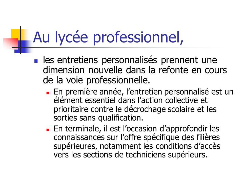 Au lycée professionnel, les entretiens personnalisés prennent une dimension nouvelle dans la refonte en cours de la voie professionnelle.