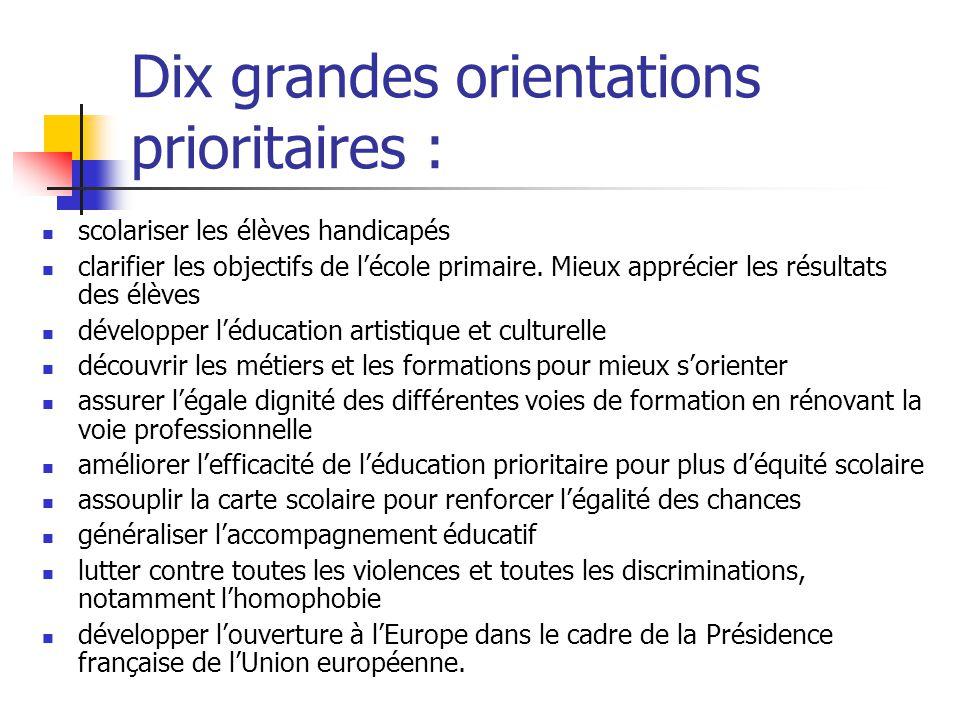 Dix grandes orientations prioritaires : scolariser les élèves handicapés clarifier les objectifs de l'école primaire.