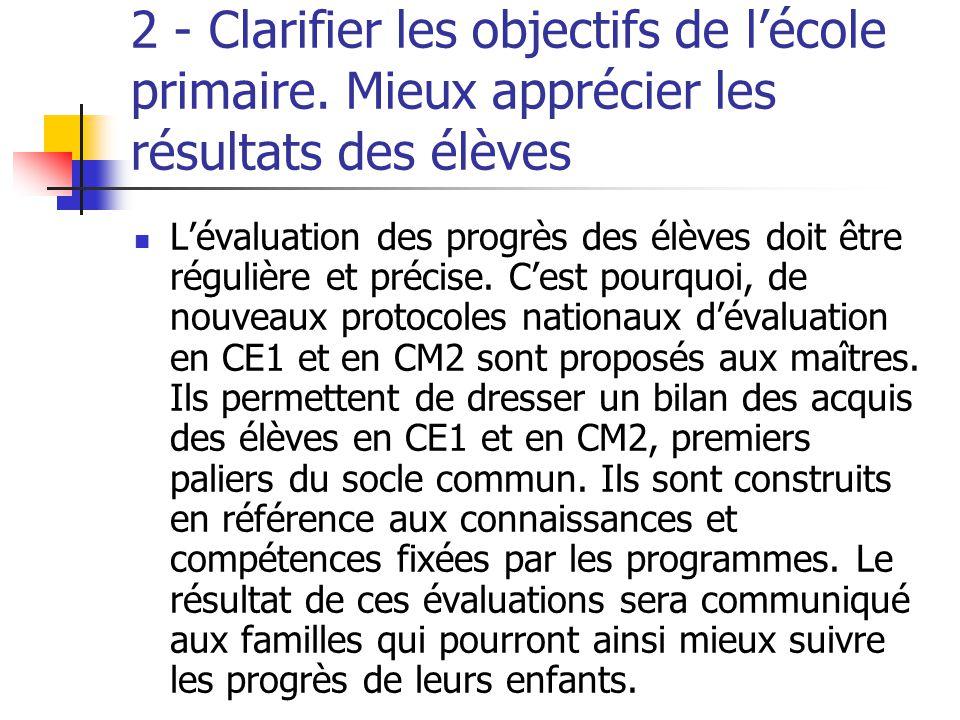 2 - Clarifier les objectifs de l'école primaire.