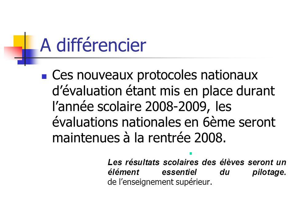 A différencier Ces nouveaux protocoles nationaux d'évaluation étant mis en place durant l'année scolaire 2008-2009, les évaluations nationales en 6ème seront maintenues à la rentrée 2008.