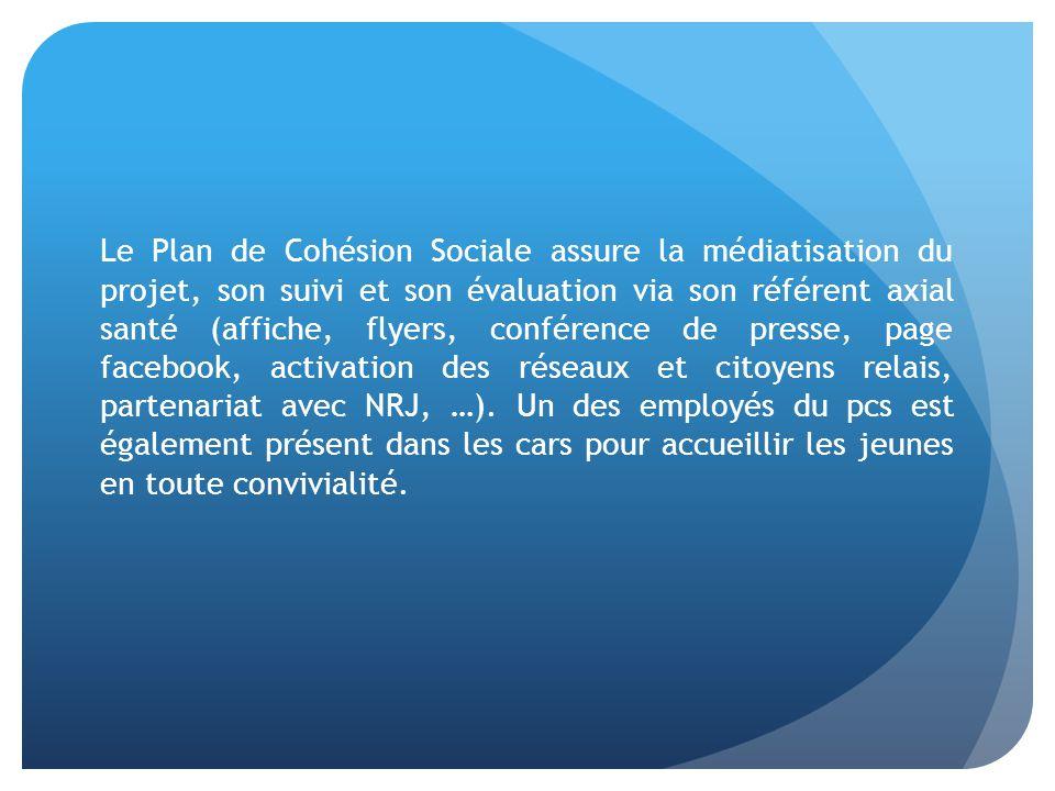 Le Plan de Cohésion Sociale assure la médiatisation du projet, son suivi et son évaluation via son référent axial santé (affiche, flyers, conférence de presse, page facebook, activation des réseaux et citoyens relais, partenariat avec NRJ, …).
