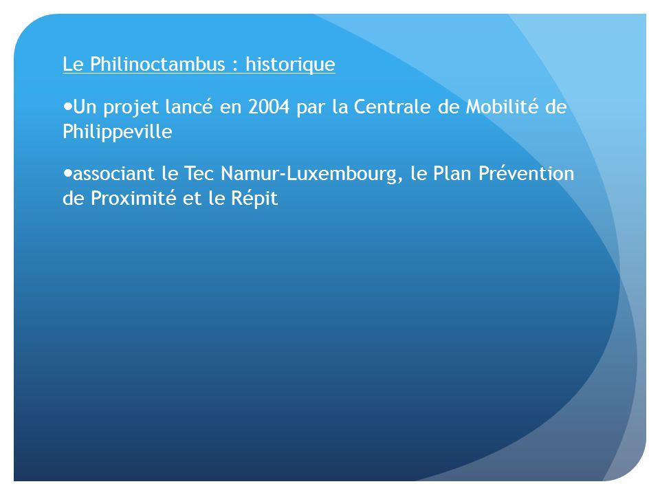 Le Philinoctambus : historique Un projet lancé en 2004 par la Centrale de Mobilité de Philippeville associant le Tec Namur-Luxembourg, le Plan Prévention de Proximité et le Répit