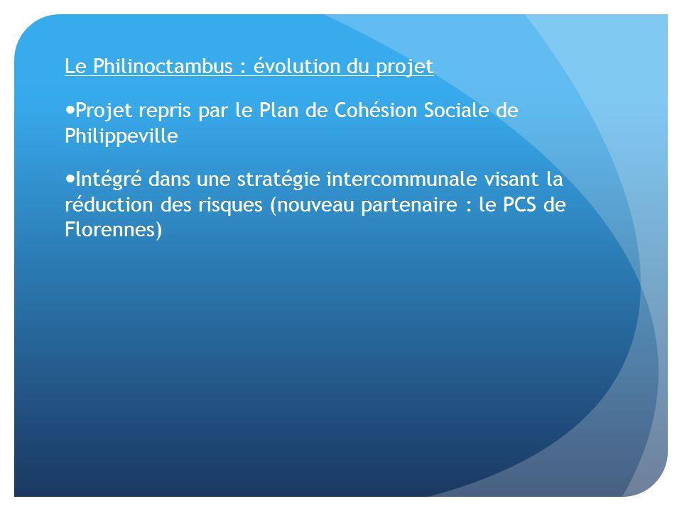 Le Philinoctambus : évolution du projet Projet repris par le Plan de Cohésion Sociale de Philippeville Intégré dans une stratégie intercommunale visant la réduction des risques (nouveau partenaire : le PCS de Florennes)