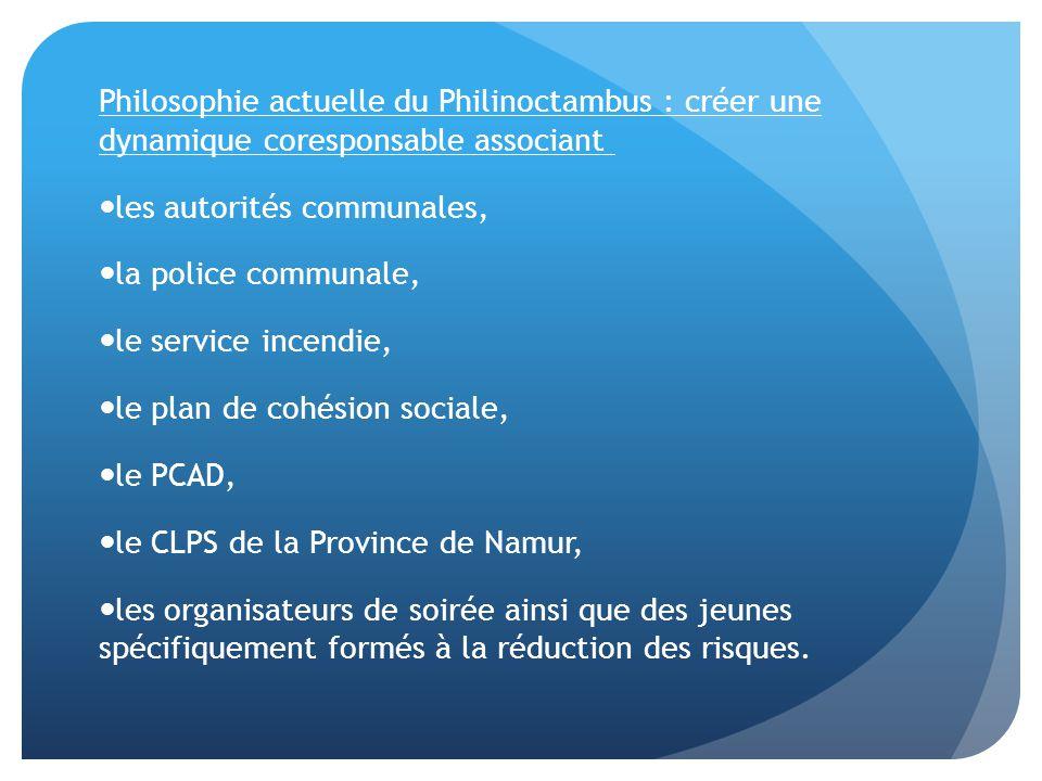 Philosophie actuelle du Philinoctambus : créer une dynamique coresponsable associant les autorités communales, la police communale, le service incendi