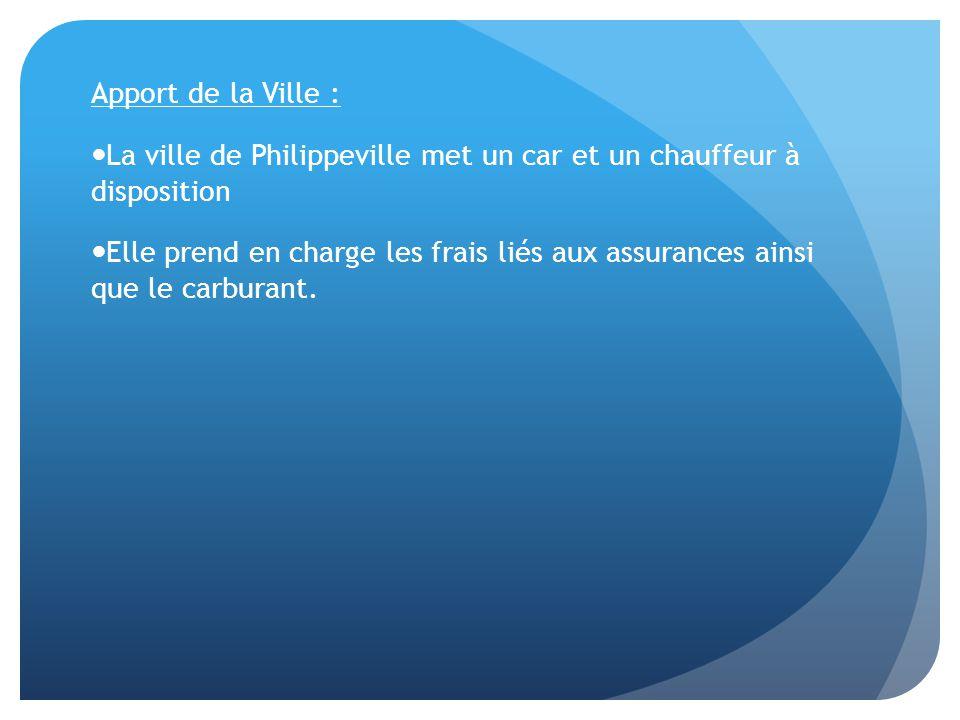 Apport de la Ville : La ville de Philippeville met un car et un chauffeur à disposition Elle prend en charge les frais liés aux assurances ainsi que le carburant.