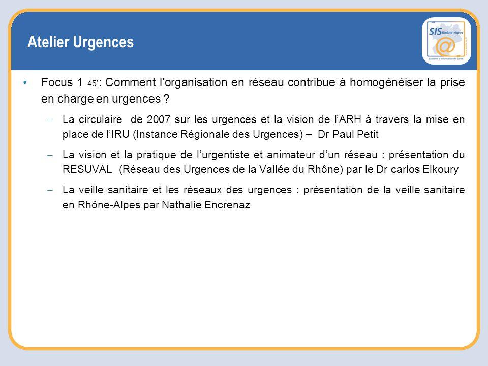 Atelier Urgences Focus 1 45' : Comment l'organisation en réseau contribue à homogénéiser la prise en charge en urgences .