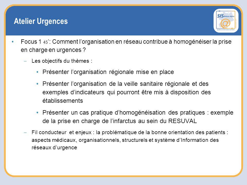 Atelier Urgences Focus 1 45 ': Comment l'organisation en réseau contribue à homogénéiser la prise en charge en urgences .