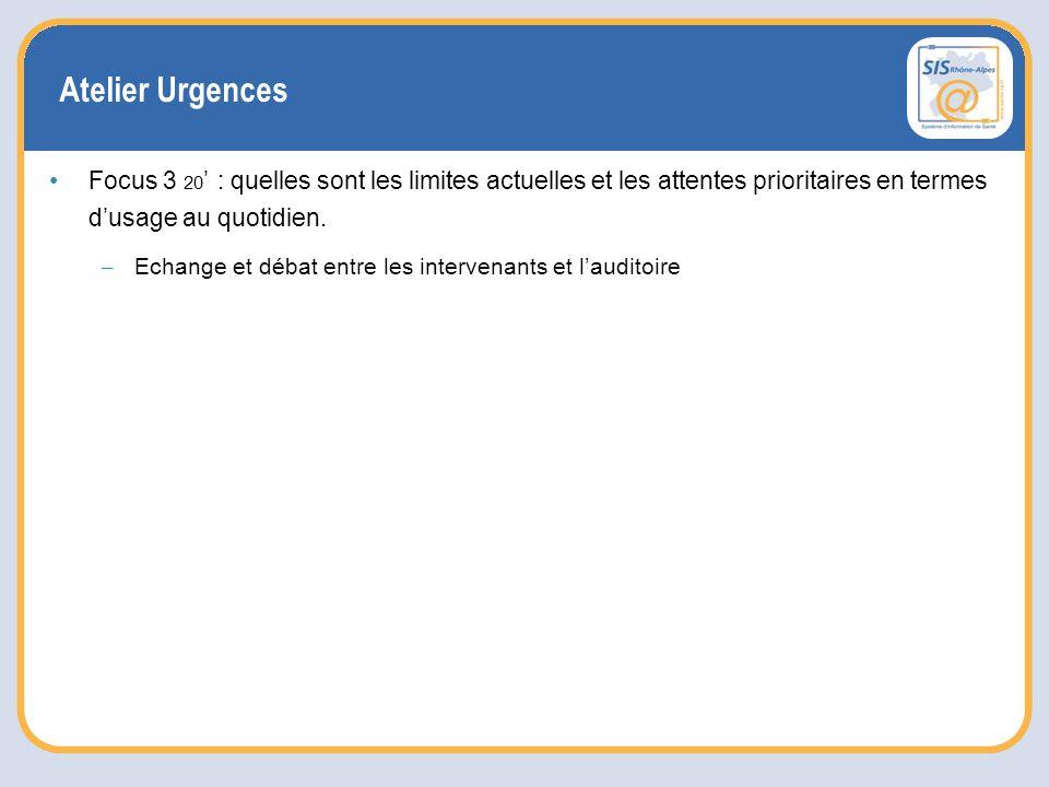 Atelier Urgences Focus 3 20 ' : quelles sont les limites actuelles et les attentes prioritaires en termes d'usage au quotidien.