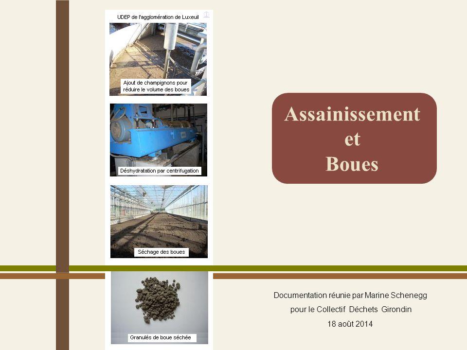 Assainissement et Boues Documentation réunie par Marine Schenegg pour le Collectif Déchets Girondin 18 août 2014 