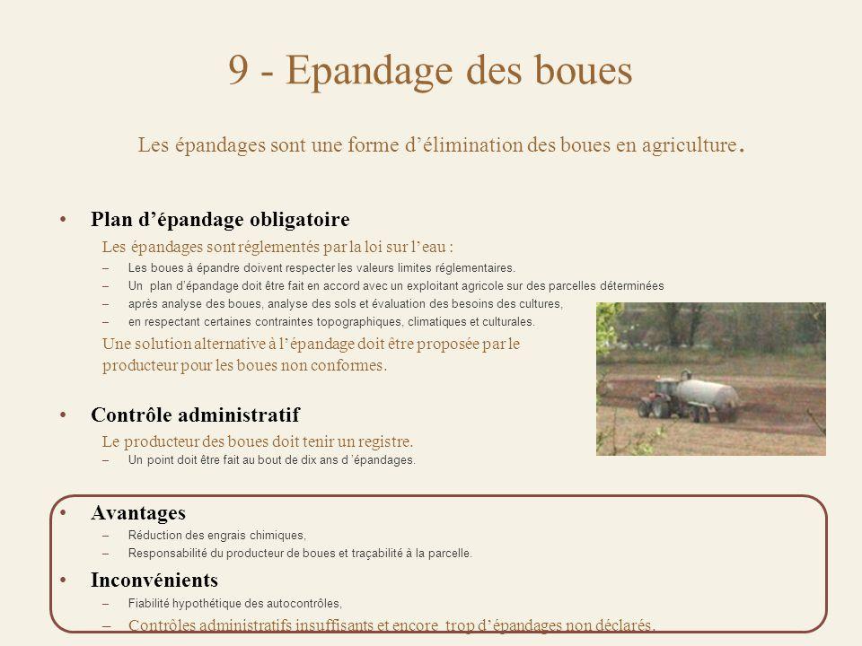 9 - Epandage des boues Les épandages sont une forme d'élimination des boues en agriculture.