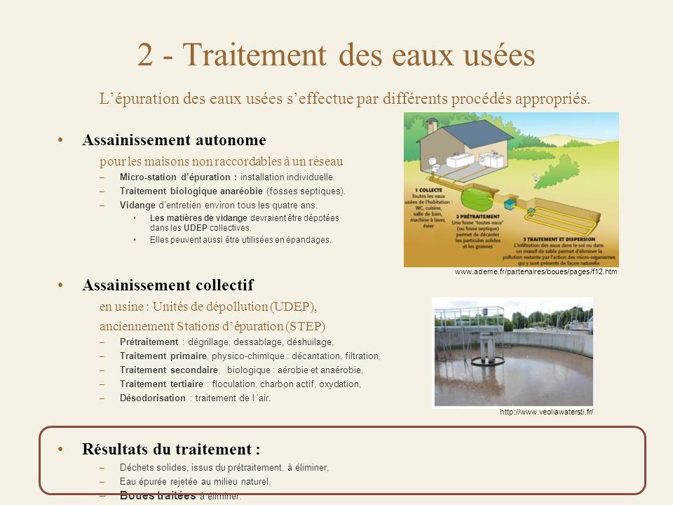 2 - Traitement des eaux usées L'épuration des eaux usées s'effectue par différents procédés appropriés.