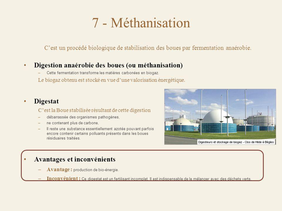 7 - Méthanisation C'est un procédé biologique de stabilisation des boues par fermentation anaérobie.
