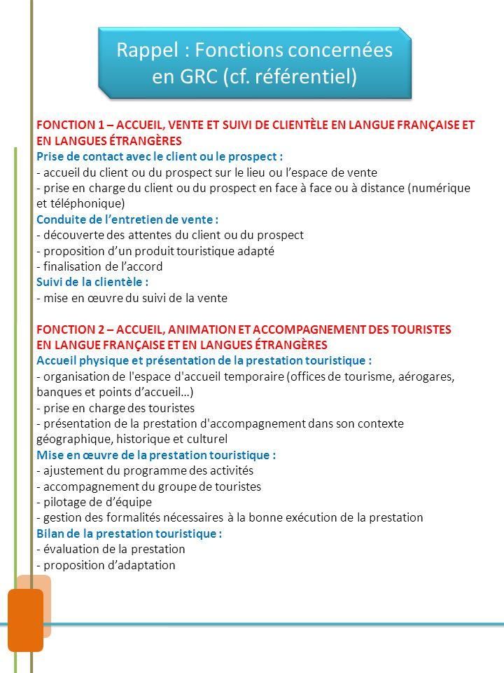 Rappel : Fonctions concernées en GRC (cf. référentiel) FONCTION 1 – ACCUEIL, VENTE ET SUIVI DE CLIENTÈLE EN LANGUE FRANÇAISE ET EN LANGUES ÉTRANGÈRES
