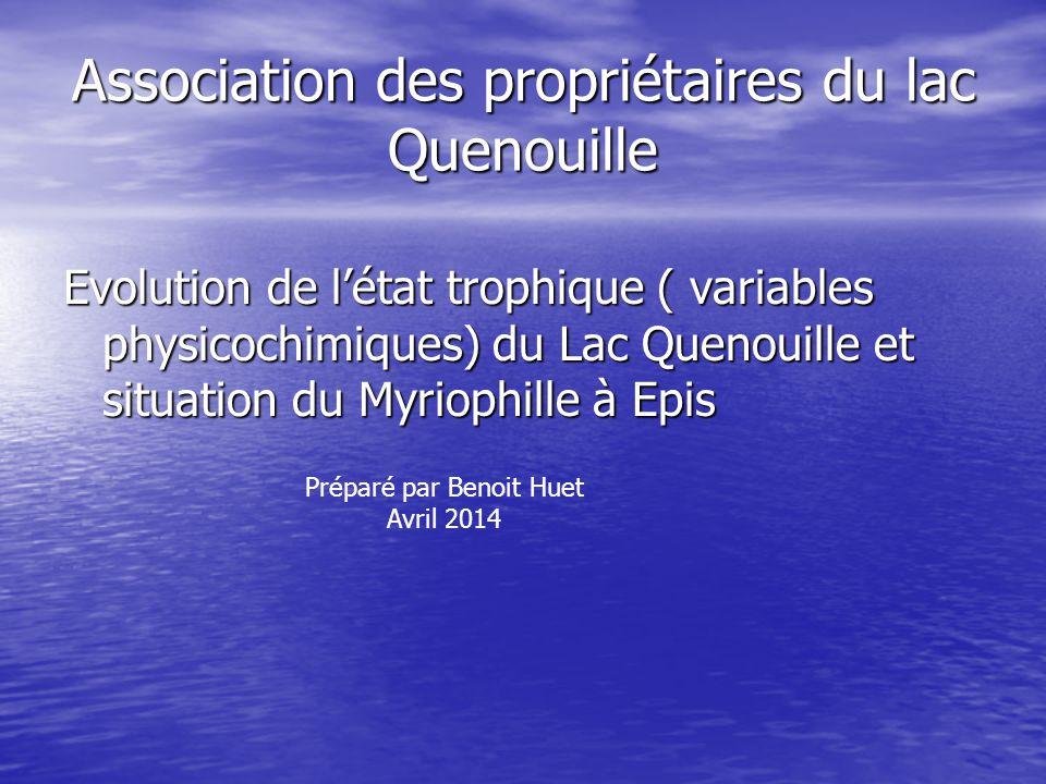 Association des propriétaires du lac Quenouille Evolution de l'état trophique ( variables physicochimiques) du Lac Quenouille et situation du Myriophi