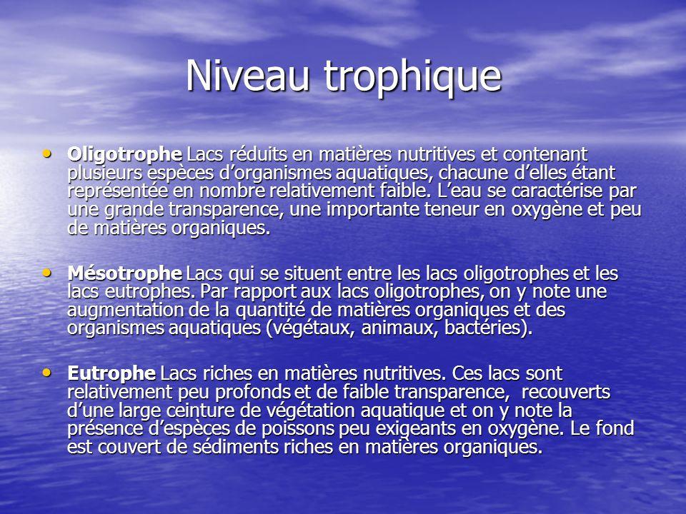 Niveau trophique Oligotrophe Lacs réduits en matières nutritives et contenant plusieurs espèces d'organismes aquatiques, chacune d'elles étant représe