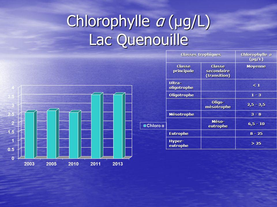 Chlorophylle α ( µ g/L) Lac Quenouille Classes trophiques Chlorophylle a (µg/L) Classe principale Classe secondaire (transition) Moyenne Ultra- oligot